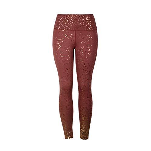 Noctiflorous Stamping Yoga Pants Women Gym Slim Fit Sports Leggings Golden Print High Waist Push Up Fitness Leggings Athletic Pants (Color : Brown, Size : XLarge)