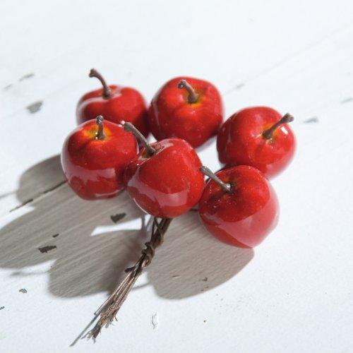 Mini-Apfel am Draht Apfel Kunstobst für Gestecke 2,5 cm, 48 Stk. in Box, rot