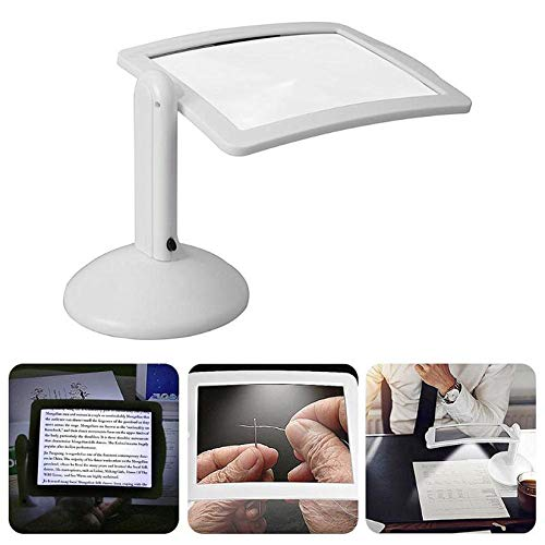 Lupenleuchte,Lupenlampe mit Standfuß 360° Schwenkarm,Standlupe Mit Licht, Leselupe 3-Fache Lupe für Lesehilfe Senioren