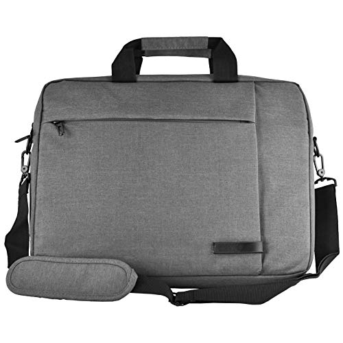bw & h Messenger Canvas Laptop Computer Case Bag Fits up to 15.6 inch for Apple MacBook Acer HP Google Chrome etc (Grey)