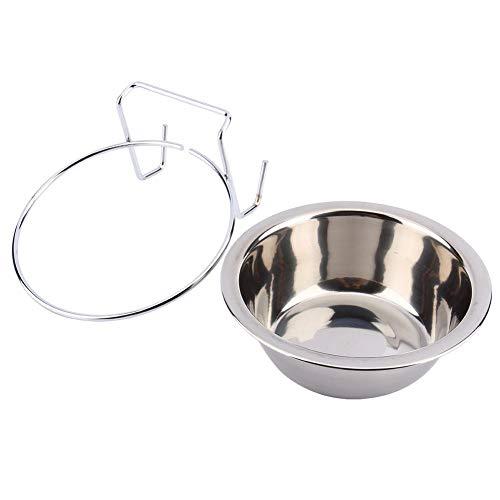 Diervoeding & waterschaal met haken, roestvrij staal hangend dierenkooi kom diner voering waterschaal kledinghanger voor huisdier vogel kat hond