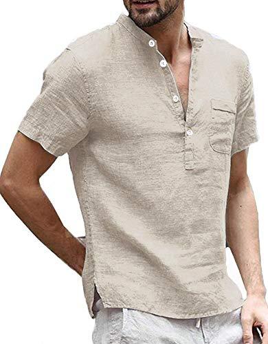 Enjoybuy Mens Linen Henley Shirts Short Sleeve Casual Summer T Shirt Banded Collar Beach Tops Khaki
