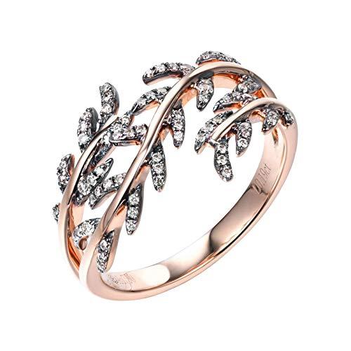 AueDsa Anillos Oro Rosa Anillos de Mujer de Oro Rosa 18K Hojas Diamante Champán 0.19ct Anillo Talla 6,75-25