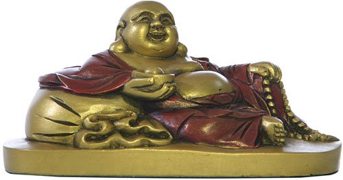 Happy Buddha Statue, Mini Reclining, Gold Statue