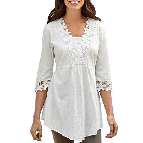 Fossen Camisetas Mujer Blusas Mujer Tallas Grandes en Ofertas Blusas de Mujer Elegantes con Encaje de Fiesta de Moda 2017 (XXL, Blanco)