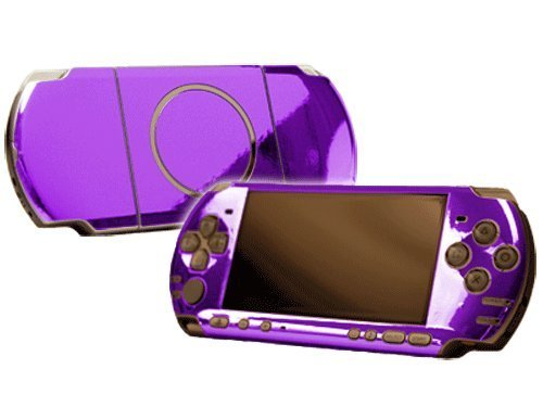 Purple Chrome Mirror Vinyl Decal Faceplate Mod Skin Kit for Sony PlayStation Portable 3000 Console by System Skins