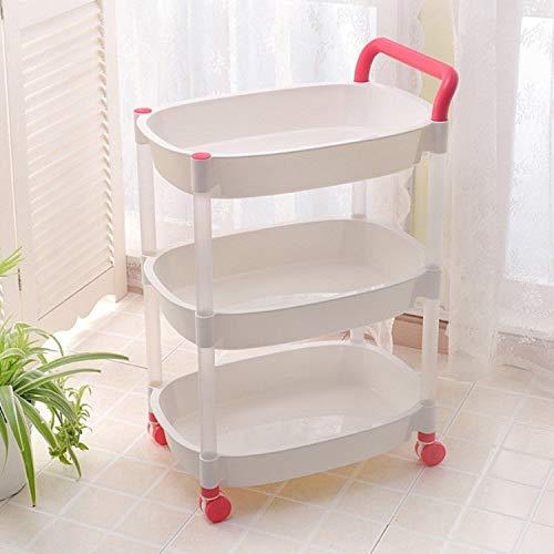 Hmg Cocina Trolleys Plástico Multi Capa Rack Rack Trolley Cocina Carrito Móvil Estante de Almacenamiento, Color: Three Layer Pink