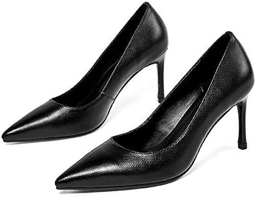 AJUNR Moda elegante Transpirable Sandalias schuhe de damen schuhe Señaló delgada poco profundo schwarz de 8 cm de tacon alto