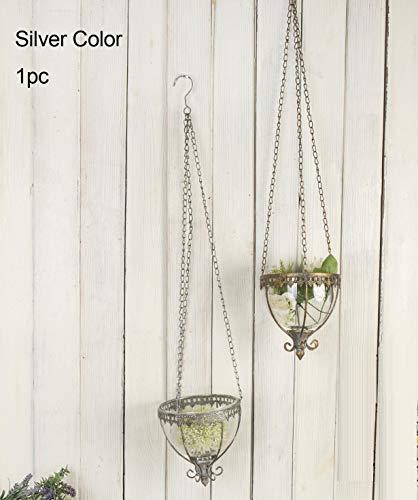Ruidoz 0932RZ Wand-Kerzenhalter mit Kette zum Aufhängen, für Zuhause, silberfarben