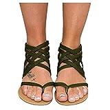 YHIIen Sandalias planas para mujer, bohemias, sandalias de playa, elegantes romanas, dedos de los pies, anillo de gladiador, Peep Toe Flip Flop, sandalias de playa