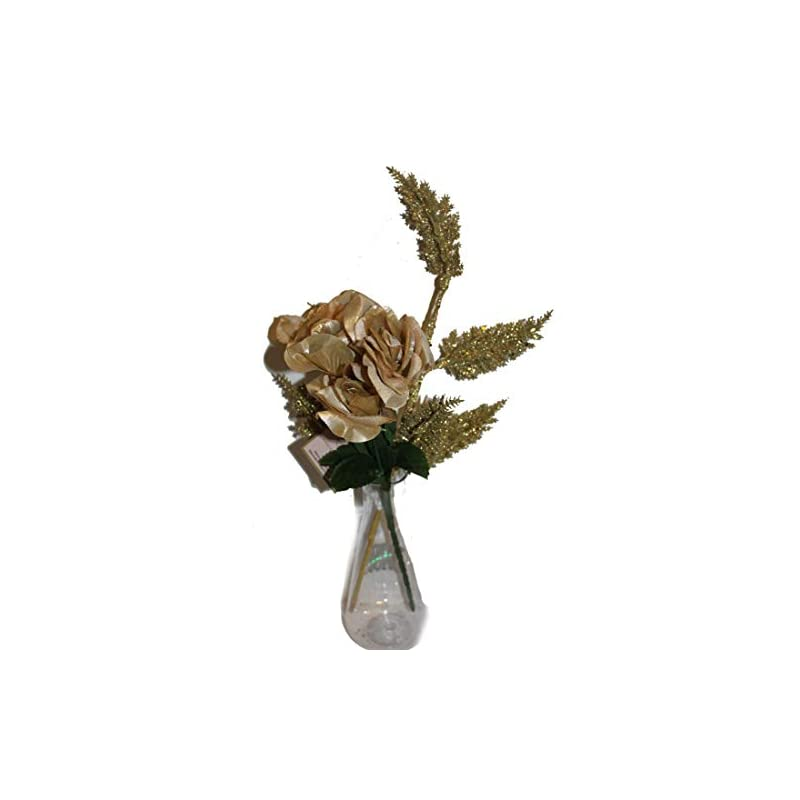 """silk flower arrangements set of glittered rose and fern, 14"""" sparkling christmas, fall, holidays or wedding rose bush with artificial 4"""" flowers and 1 18"""" glittered fern bush"""