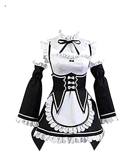 RRUUGK Traje de limpieza Lolita Vestido Anime Cosplay Disfraz de Halloween (Color : Black, Size : M)