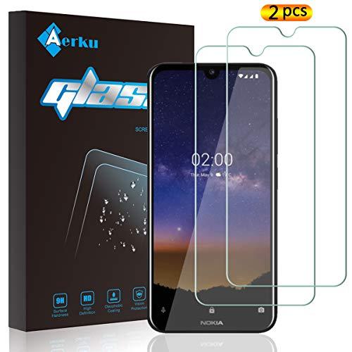 Aerku für Nokia 2.2 / Nokia 1.3 Panzerglas,9H Festigkeit HD Schutzfolie Anti-Kratzer Ultra Glatte Film Bildschirmschutzfolie Blasenfreie Panzerglasfolie für Nokia 2.2 / Nokia 1.3 [2Stück]-Transparent