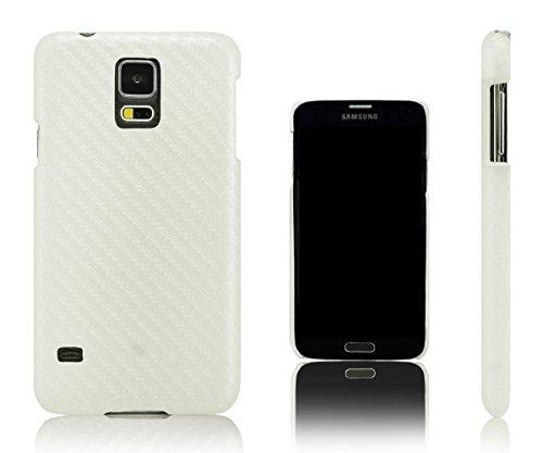 Xcessor Carbon Fibre Custodia in Plastica Rigida per Samsung Galaxy S5 i9600 (Compatibile con Tutti i Modelli Samsung Galaxy S5). Bianco
