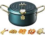 304 Edelstahl tempura fritteuse mit thermometer und deckel, multifunktionale frittiertopf induktion, für Hühnchen Pommes Frites Fischgarnelen (Grün)