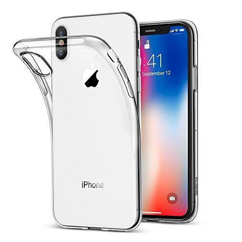 REY Funda Carcasa Gel Transparente para iPhone X - iPhone XS, Ultra Fina 0,33mm, Silicona TPU de Alta Resistencia y Flexibilidad