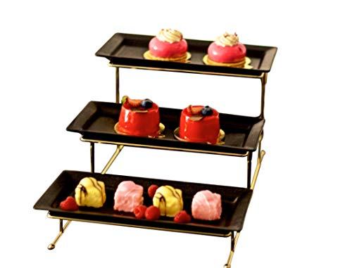 3 Tier Serving Stand - Collapsible Sturdier Rack - Dessert Stand and Buffet Server - Party Plates, Trays and Platters - Tiered Trays for Fruits, Appetizers and Cupcakes
