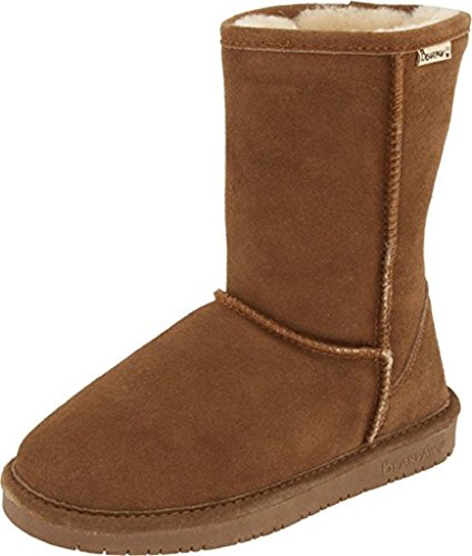 Bearpaw Women's Emma Hickory/Champagne Short Fur Lined Warm Snow Boot (9)
