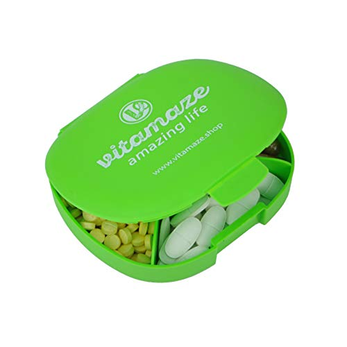 Pastillero con 5 Compartimentos, Mini Caja Organizadora de Pastillas, Almacenamiento de Pastillas para 5 Días, Caja de Suplementos y Vitaminas sin BPA, Pequeño Pastillero: 11 x 10 x 3 cm