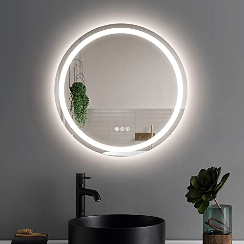 OONNEE 24 Inch Round Led Mirror for Bathroom,Wall Mounted Vanity Mirror with 3-Colors Lights with Adjustable Brightness ,Waterproof and Anti-Fog