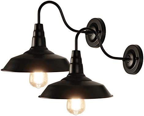 LynPon 2 Pack Black Gooseneck Barn Light Fixture Industrial Vintage Wall Sconce for Warehouse product image
