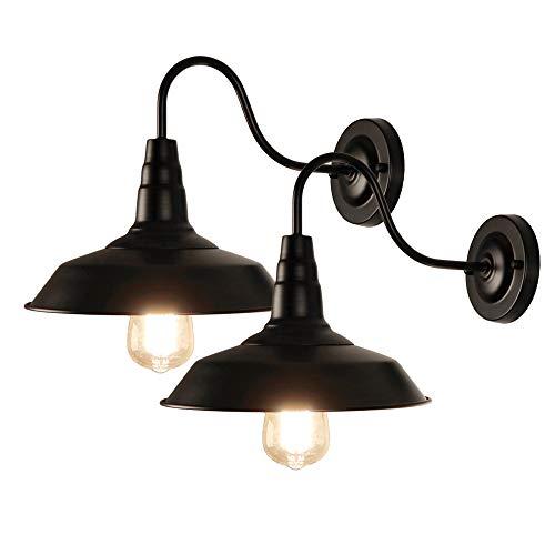 LynPon 2er Pack Wandleuchte, Industrial Wandlampe, Dimmbar Vintage Wand Leuchte, Rustikal Schwarz Eisen Beleuchtung für Schlafzimmer Scheune Wohnzimmer Loft