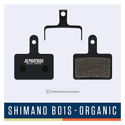 Alphatrail Pastillas de Freno - Shimano B01S I Orgánico Pastilla de Freno MTB con Alta Potencia de frenado y kilometraje I Shimano Deore LX Alivio Acera Tourney Nexave
