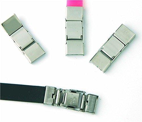 Cierres para pulseras. 25 unidades. Cierre de acero de 10x1,5 mm