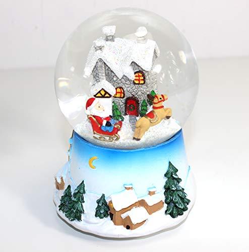 qm SCHNEEKUGEL Spieluhr Weihnachten Santa Rudolf Weihnachtsmelodie Jingle Bells 801 0443