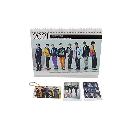 Stray Kids Kpop Tischkalender mit Schlüsselanhänger und Mini-Foto-Karten