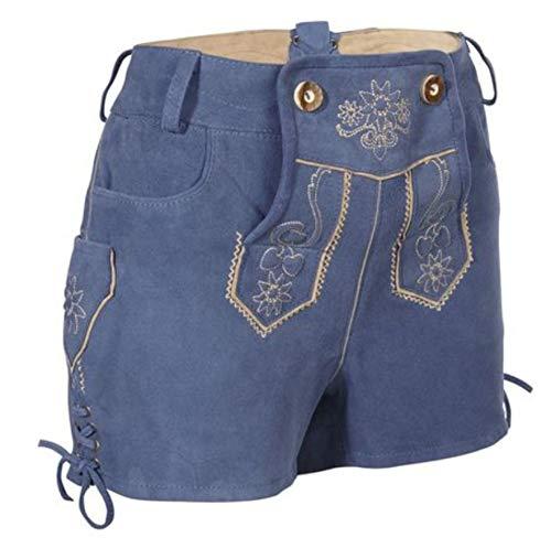 Esmara Trachten Damen Lederhose Ziegenleder kurz blau Jeansshorts (40)