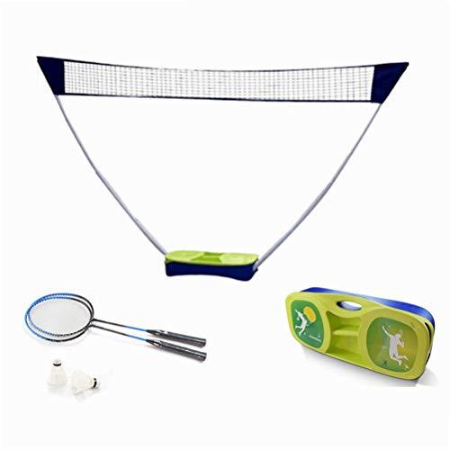 GYC Tragbares Home-Office-Badminton-Set mit Netz, 2 Schlägern und 2 Badminton, Popup-Volleyballnetz, faltbares verstellbares Netz mit Tragebox