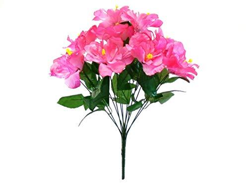 "Pink Hibiscus Bush 12 Artificial Silk Flowers 20"" Bouquet 5325 PK"