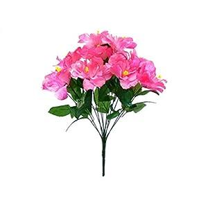 Pink Hibiscus Bush 12 Artificial Silk Flowers 20″ Bouquet 5325 PK