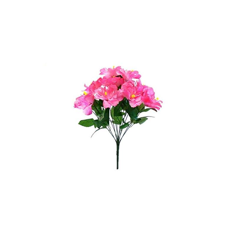 """silk flower arrangements pink hibiscus bush 12 artificial silk flowers 20"""" bouquet 5325 pk"""