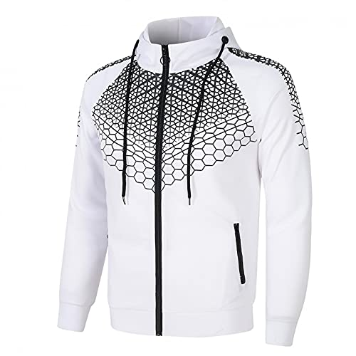 Gillberry Men's Full-Zip Hoodie Gym Workout Sweatshirt Fashion Long Sleeve Tops Active Streetwear with Zipper Pocket White