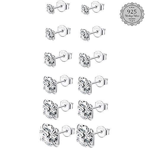 LOLIAS Set di Orecchini Argento 925 per Donna Uomo 6 Paia Zirconi Orecchini a Bottone Argento Punto Luce Orecchini Piccoli Ipoallergenici Cartilagine Orecchini Regalo 3-8MM