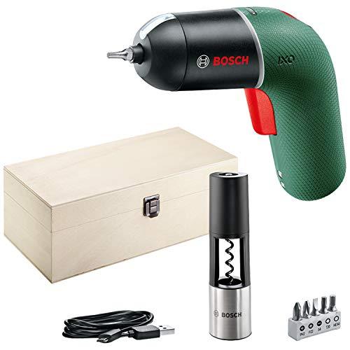 Bosch Akkuschrauber IXO Vino Set (6. Generation, grün, mit IXO Korkenzieheraufsatz, über Micro-USB-Kabel aufladbar, variable Drehzahlsteuerung, in hochwertigem Holzkasten)