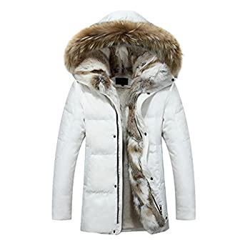 HZCX FASHION Men s Fur Collar Hooded Warm Fleece Lined Down Jackets and Coats White,XL 46