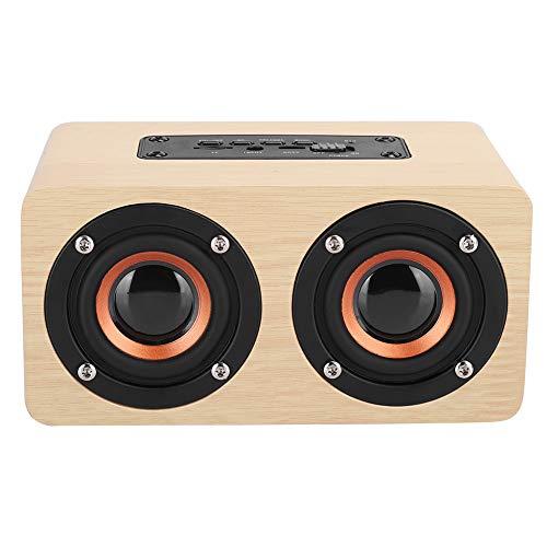Altavoz Bluetooth, reproductor de música de escritorio inalámbrico de madera, batería de 1500 mAh, 2 altavoces, audio de alta fidelidad, carga USB portátil, para teléfonos, computadoras, tabletas