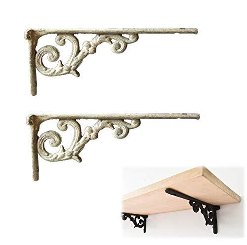 Soporte de estante victoriano de hierro fundido | Soporte de hierro fundido para estantes | Soporte de pared para estilo rústico | Herrajes de pared de estante flotante, paquete de 2