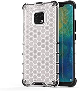 Fashion Phone case for Huawei Mate 20 Pro,Fashion Shockproof Honeycomb Design PC + TPU Protective Case (Color : Clear)