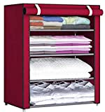 Pyxbe Fancy and Portable Foldable Collapsible Closet/Cabinet Collapsible Wardrobe Organizer, Multipurpose Storage Rack for Kids and Women, Clothes Cabinet, Bedroom Organiser_4 Layer Maroon