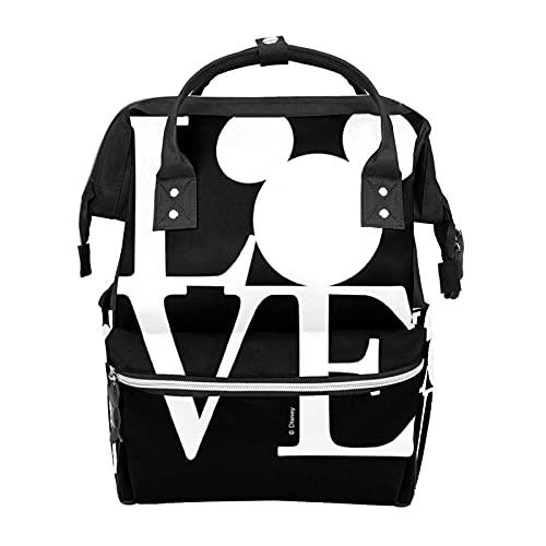 Mochila Bolsa de pañales Mickey Mouse LOVE Negro Impermeable Bolsa de Bebé Mamá y Papá Mochila de Pañales Ligero Gran Capacidad Bolsa de Pañales Viaje Daypack