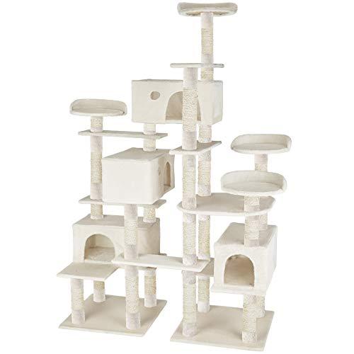 TecTake Árbol rascador para Gatos 214 cm de Altura | 4 Plataformas de observación | 4 cómodas madrigueras (Blanco | no. 402809)