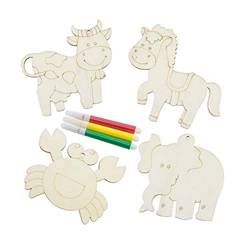 Set de 12 piezas de madera de animales para colorear. Incluye rotuladores. Ideal para regalos de cumpleaños, comuniones, colegios, guarderias, celebraciones. Animales para colorear