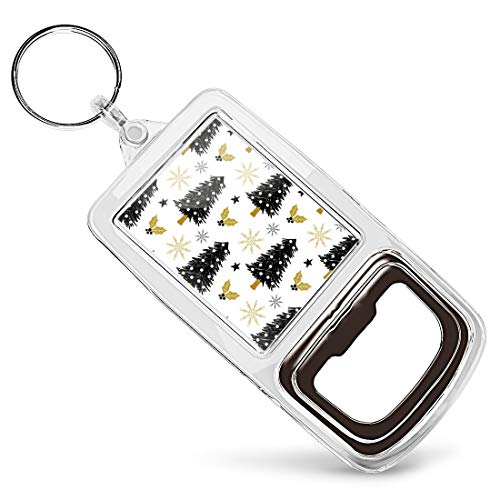 Acrylic Bottle Opener Keyring - Christmas Tree Holly Snow Stars  Keychain Keyring Charm Gift #44610