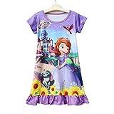PCLOUD Sofia Toddler Girls Short Sleeve Princess Dress Casual Pajamas Nightgown