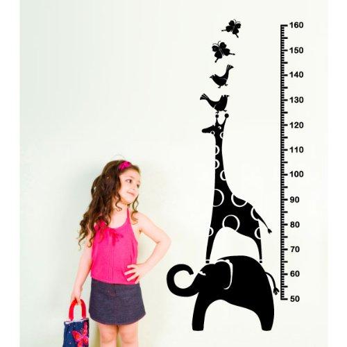 Ambiance-Live Sticker Mural Toise animaux pour enfants - 130 X 55 cm, Noir