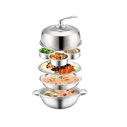 WZHZJ Steamer 304 Stainless Steel Sauna Pot Three-layer Thickened Steam Hot Pot 32CM Home Steamer Large Capacity Seafood Steam Pot